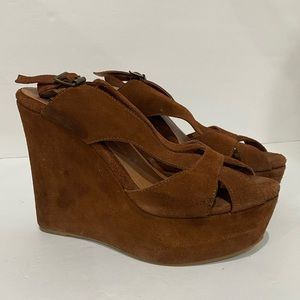 Jeffrey Campbell Mariel Brown Suede Wedge Sandals